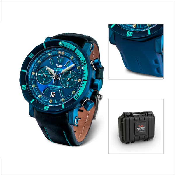 Vostok Europe Gent's Lunokhod 2 Chronograph Watch with Blue PVD Plated Case, Interchangeable Straps with Dry Box Blue