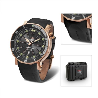 Vostok Europe Gents Lunokhod 2 Automatic Watch with Interchangeable Strap and Collectors Dry Box