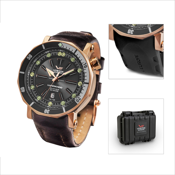 Vostok Europe Gent's Lunokhod 2 Automatic Watch with PVD Case Interchangeable Strap and Dry Box Rose Gold