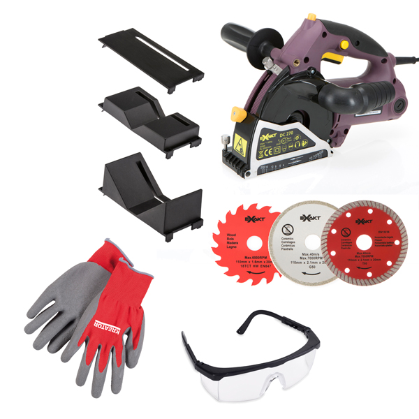 Exakt Deep Cut with 2 Blades, 2 Attachments, Safety Glasses and Grip It Gloves