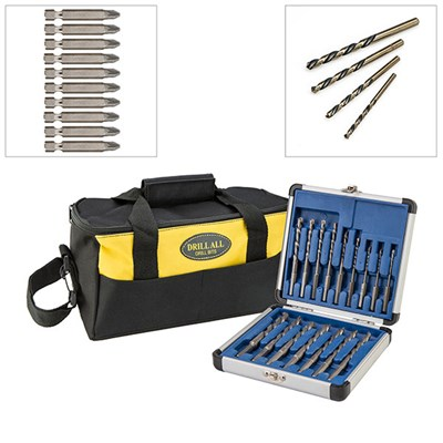 16 piece Drill All Drill Bits set with 10 Diamond Tipped Screwdriver Bits, 4 Piece Reverse Action Drill Set and Tool Bag