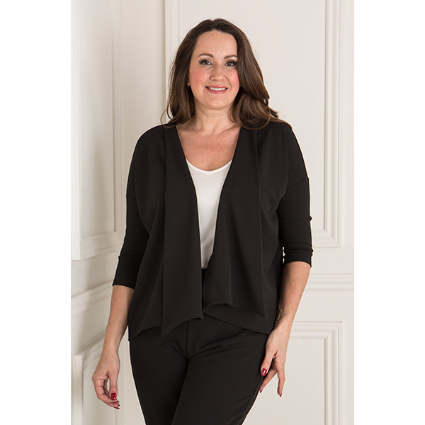 Nicole Crepe Waterfall Jacket Black
