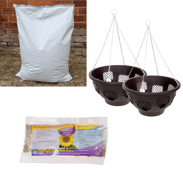 Complete Easy Fill Hanging Basket Kit - 2 x 15 Inch Hanging Baskets, 40L Compost & 150g Rain Gel & Feed No Colour
