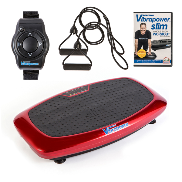 Vibrapower Slim 2 with Resistance Bands with Remote Control Watch plus FREE Vibrapower Slim Whole Body Workout DVD Vol 1 Red
