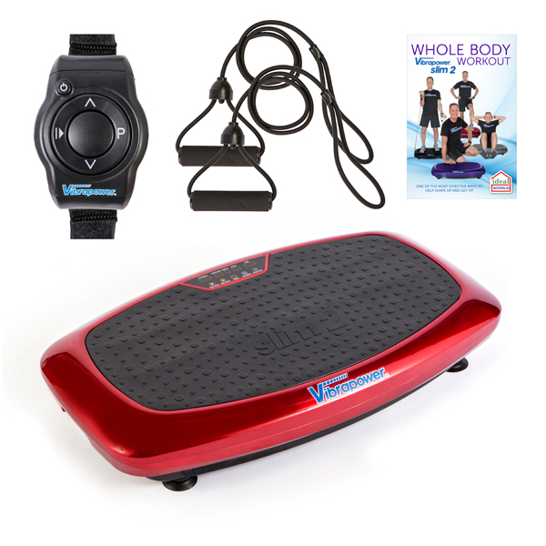 Vibrapower Slim 2 with Resistance Bands and Remote Control Watch plus FREE Vibrapower Slim 2 Plus Whole Body Workout DVD Red