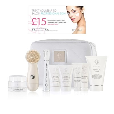Crystal Clear Ionic Sonic Cleansing Kit In White Bag and Lift Away the Years Wand and Serum Kit with Extra Serum and 10 Min Glow plus FREE Voucher