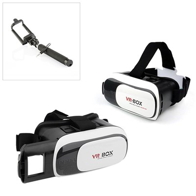 VR Box 2.0 Virtual Reality Headset - Two Pack plus Selfie Stick