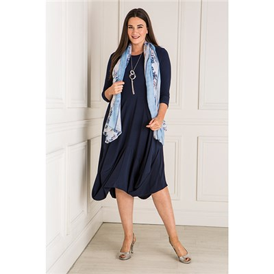 Nicole Tulip Hem Dress With Scarf And Necklace