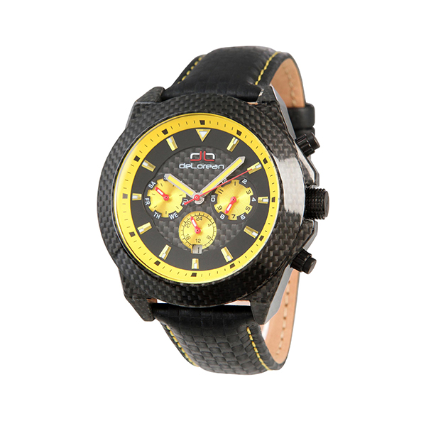Delorean Gents Limited Edition Ultra Automatic Carbon Fibre Watch with Genuine Leather Strap 402430