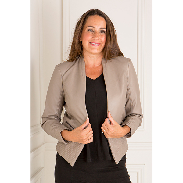 Stolen Heart Faux Lather Edge To Edge Jacket Taupe
