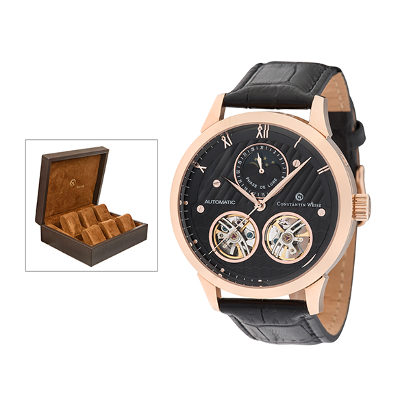 Constantin Weisz Gent's Watch with Open Heart and FREE 6 Slot Box Rose Gold