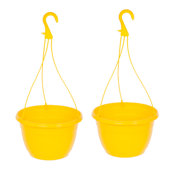 Yellow 27cm (11in) Hanging Baskets (Pair) No Colour