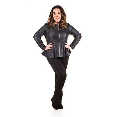 Just Be You Faux Leather Peplum Jacket