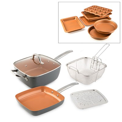 Cookshop Copperglaze 6 in 1 Pan with Accessories, Fry Pan and Bakeware Collection