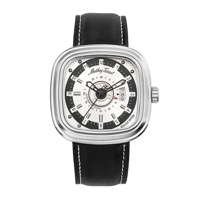 Mathey-Tissot Gent's Square Watch with Dual Time and Genuine Leather Strap