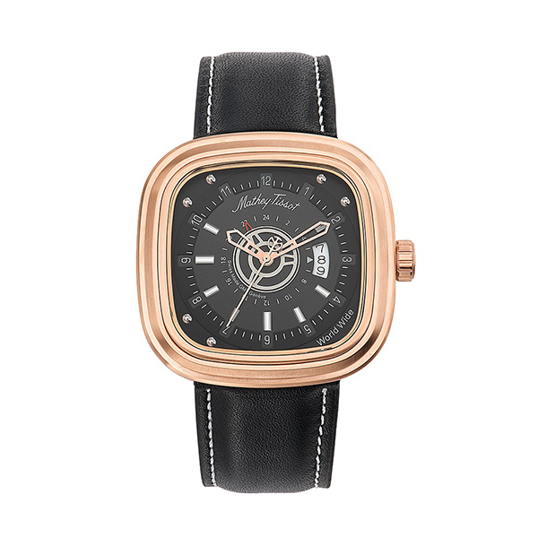 Mathey-Tissot Gents Square Watch, Dual Time, Genuine Leather Strap Rose Gold