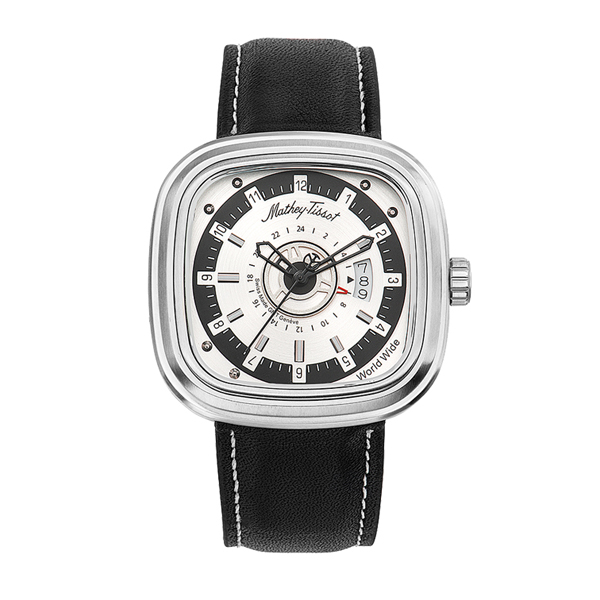 Mathey-Tissot Gent's Square Watch with Dual Time and Genuine Leather Strap Silver/ White