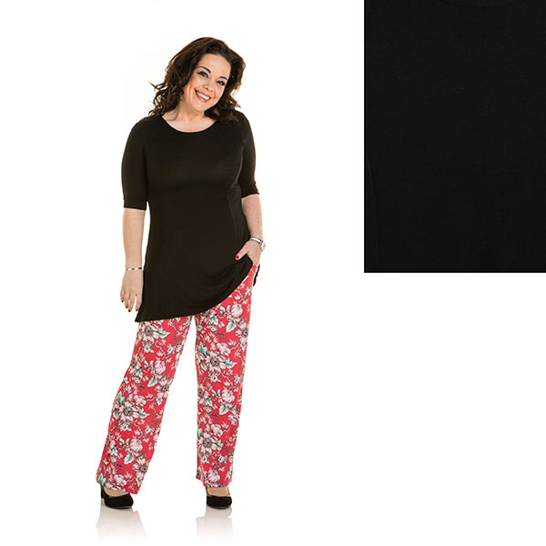 Just Be You 2 Pack Print And Plain Palazzo Trouser Coral Floral/Black