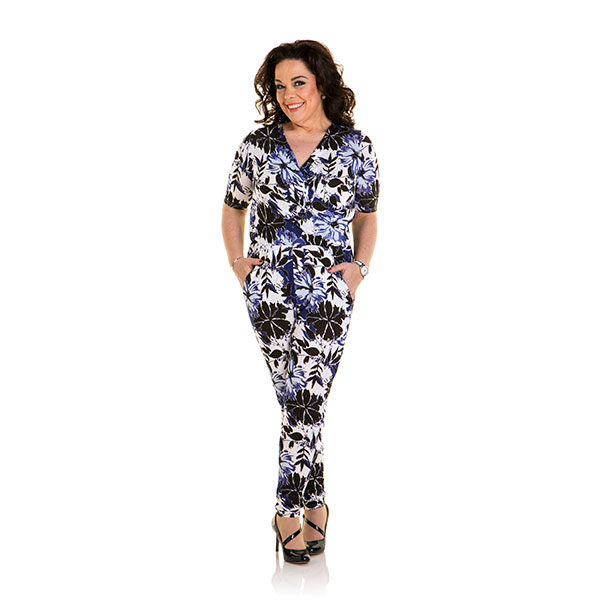 Just Be You Print Jumpsuit Cobalt Floral