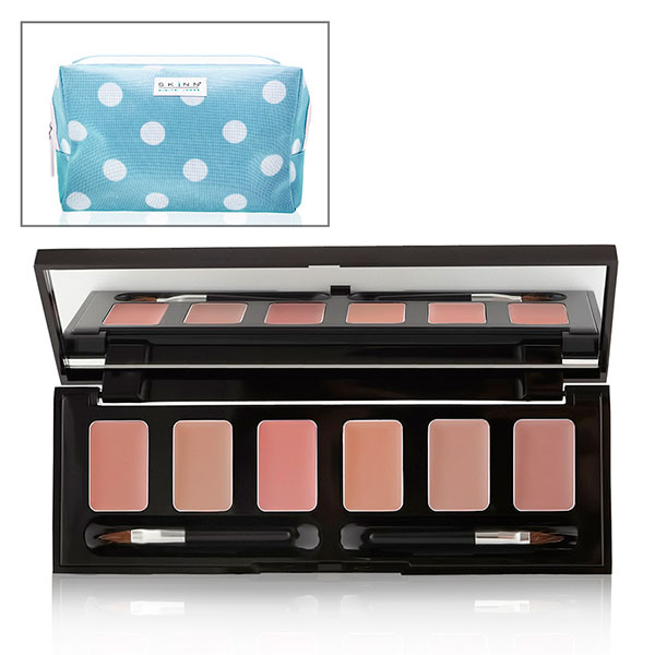 Skinn Hollywood Lip Palette with Free Blue Polka Dot Cosmetics Bag Nudes