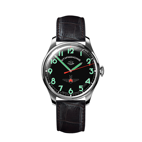 Sturmanskie Gagarin Gent's Limited Edition Watch with Poljot Russian Movements and Genuine Leather Strap Black/Green