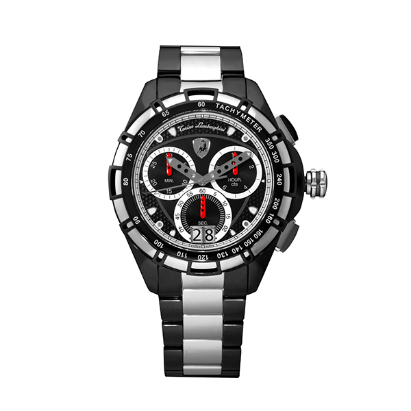 Tonino Lamborghini Gent's TL9060 Swiss Quartz Chronograph Watch with Stainless Steel Bracelet Silver