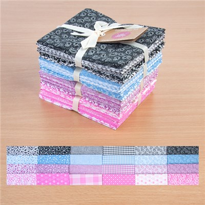Classic Black, Blue, Lilac and Oxford Pink 100 Percent Cotton Fat Quarters