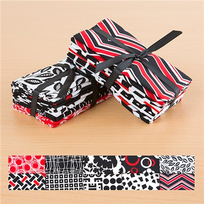 Rojo Floral and Rojo Stripe 100 Percent Cotton Fat Quarters