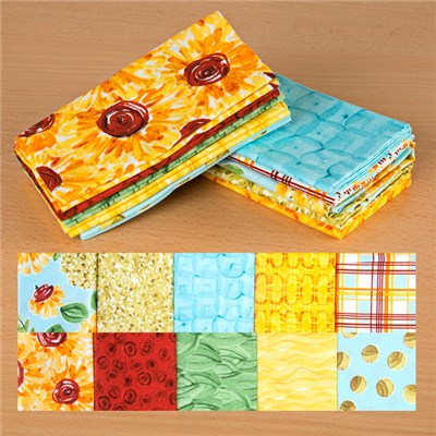 Sunny Yellow and Sunny Blue 100 Percent Fat Quarters