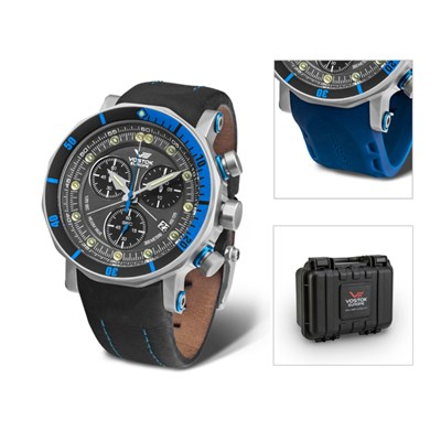 Vostok Europe Gents Lunokhod 2 Chronograph Watch with Interchangeable Strap, Dry Box