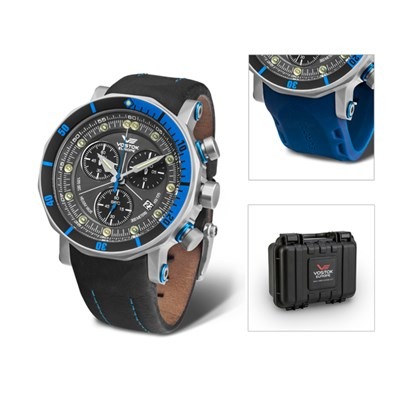 Vostok Europe Gent's Lunokhod 2 Chronograph Watch with Interchangeable Strap & Dry Box