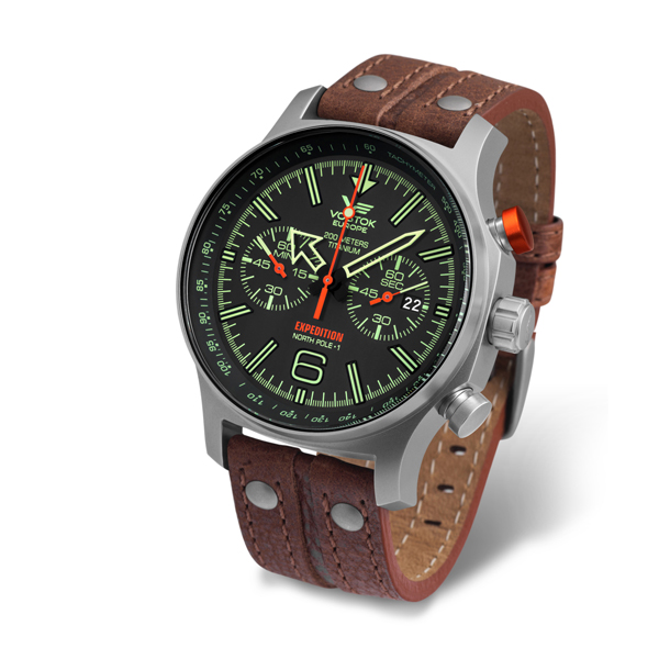 Vostok Europe Gent's Titanium North Expedition N1 Chronograph Watch with Genuine Leather Strap Black
