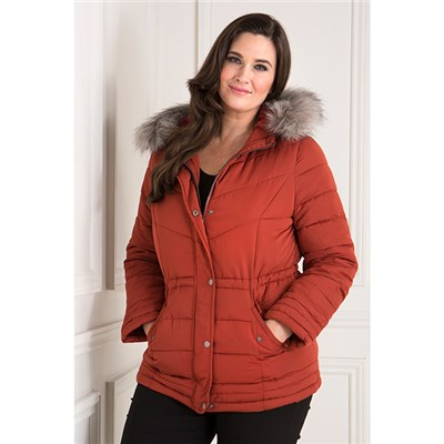 Hooded Luxury Padded Parka Jacket with Detachable Faux Fur Trim