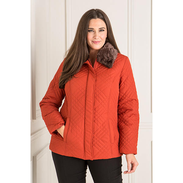 Quilted Jacket with Detachable Fur Trim Collar Rust