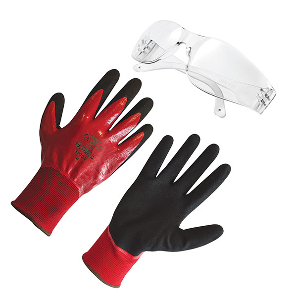 Grip It Gloves with Wraparound Safety Glasses No Colour