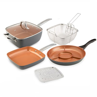 Cookshop Copperglaze 6 in 1 pan with Accessories and Fry Pan and the Cookshop 4 in 1 Pan