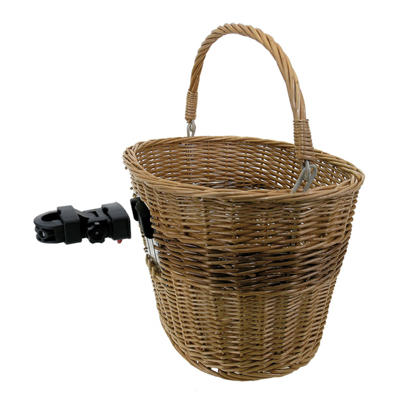 M-Wave Genuine Wicker Quick Release Bicycle Basket No Colour