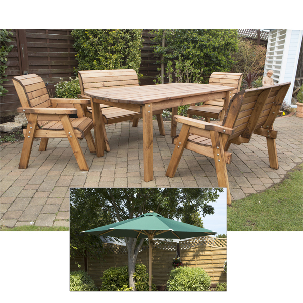 Charles Taylor 6 Seater Table with FREE Parasol 403718