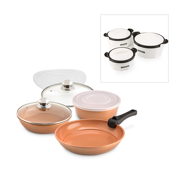 Cookshop Copperglaze Oven To Table Pan Set with Set of 3 Insulated Dishes Copper