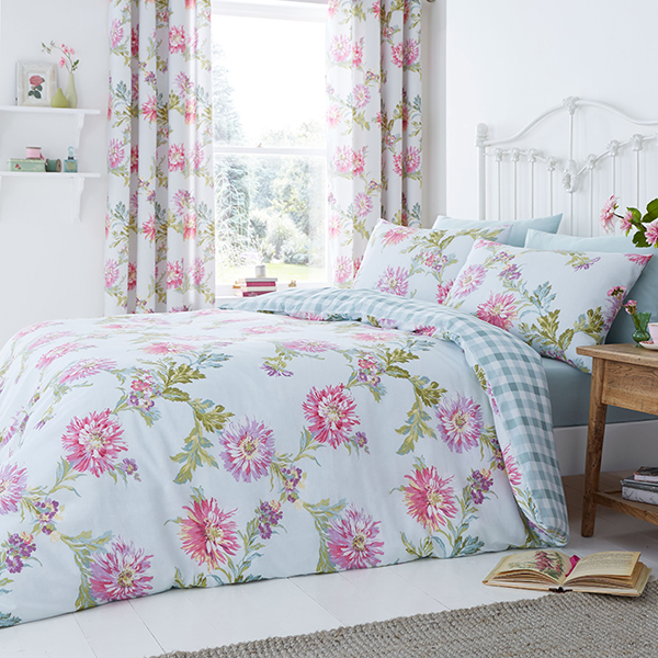 Chrysanthemum Check Reversible King Size Quilt Set Duck Egg