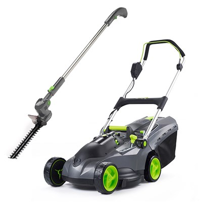 Gtech Mix and Mow Cordless Lawnmower with HT05 Plus extendable hedge trimmer