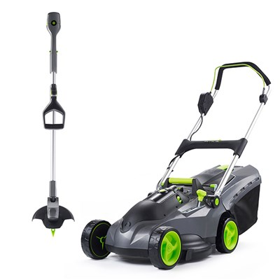 Gtech Mix and Mow Lawnmower with ST20 cordless grass trimmer
