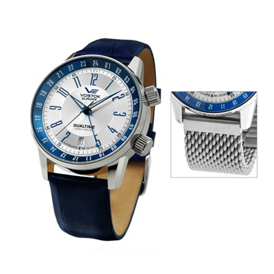 Vostok Europe Gent's Gaz-14 Limousine Dual Time Automatic Watch with Interchangeable Strap