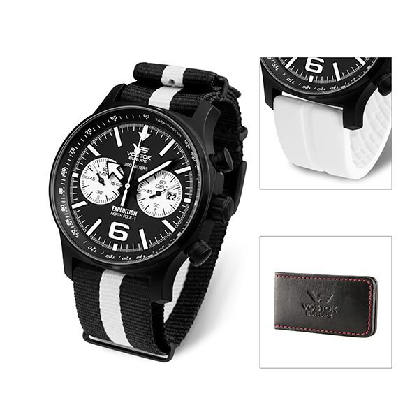 Vostok Europe Gent's Expedition N1 Chronograph with Interchangeable Strap and FREE Vostok Europe Money Clip White
