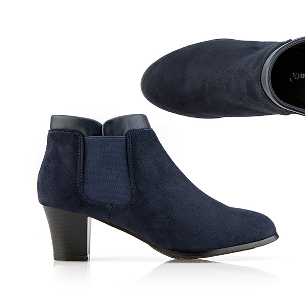 Cushion Walk Suedette Heeled Ankle Boot Navy