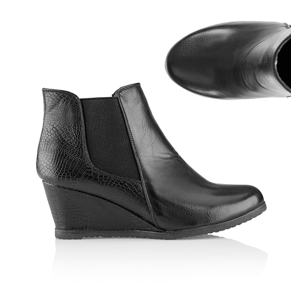 Cushion Walk Wedge Heeled Ankle Boot Black