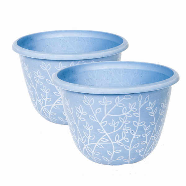 Pair of Serenity Pastel Blue Planters 12 Inches No Colour