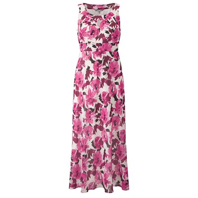 Lavitta Chiffon Pink Floral Halter Neck Maxi Dress 52in