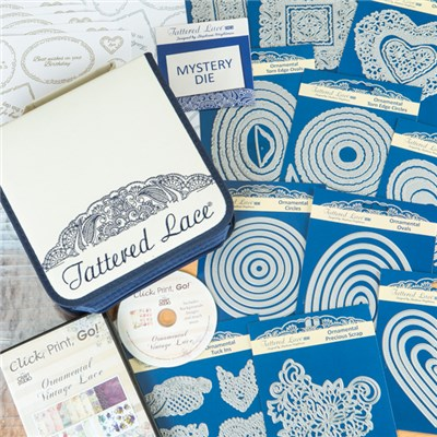 Tattered Lace Ornamental Vintage Lace Collection with Free Die Storage and Inserts, 12 Sentiment Sheets and a Mystery Die