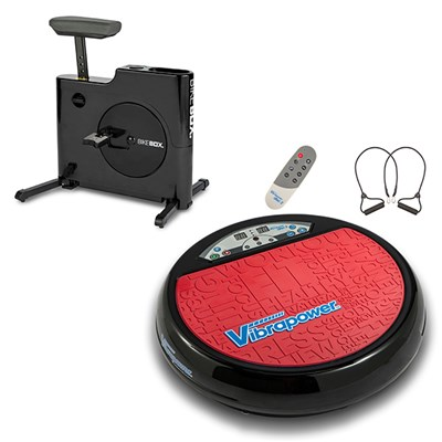 The Ultimate Home Workout Bundle - Vibrapower Disc 2 Limited Edition with Resistance Bands and Remote and Bike Box Hands Free Compact Exercise Bike